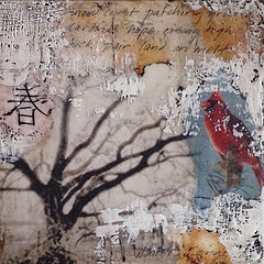 hope rising; 10 x 10, encaustic and mixed media on birch cradle board, SOLD