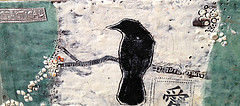 Practical Crow; 5x8,  encaustic and mixed media on found cedar board, SOLD