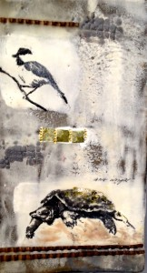 mud lake wild, 8x12, concrete, encaustic, on birch cradle board, SOLD