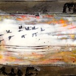 misty autumn morning $75 6x6 inch; birch cradle board, cement, encaustic, ink transfer