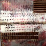 morning on the dock $75 6x6 inch encaustic, collage on gallery sided birch cradle board