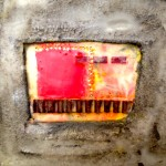 $75 6x6 inch birch cradle board, cement, encaustic, collage,