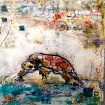 snapping turtle 2 $75 6x6 inch; birch cradle board, encaustic, collage, ink transfer, shellac SOLD