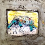 snapping turtle 1 $75  6 x 6 inch birch cradle board, cement, encaustic, collage, ink transfer SOLD