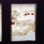winter zen tryptich 6x8 inch encaustic, collage, copper wire, fabric on rice paper, framed. SOLD