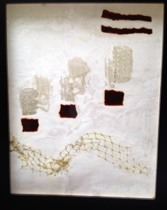 city paths 8 inch by 10 inch framed mixed media and encaustic on rice paper $100