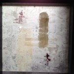happiness everywhere 10 inch by 10 inch framed mixed media and encaustic on rice paper $100