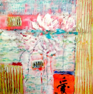 bright roots, 10 x 10, encaustic and mixed media, SOLD