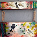 chickadee play; encaustic on found cedar, SOLD
