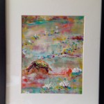Water Lilies 2:  encaustic on paper, framed, SOLD