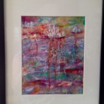 Water lilies 1:  encaustic on paper, framed SOLD