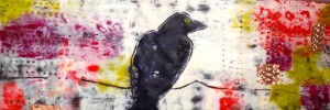 bright crow; 5x8; encaustic on birch cradle board, SOLD