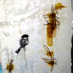SOLD chickadee field 10 inch by 10 inch mixed media and encaustic on rice paper $60