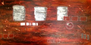 inside out universe 30 x 60 inch acrylic and mixed media on gallery canvas $2000