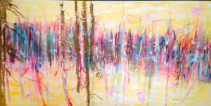 bright winter 30 x 60 inch acrylic and mixed media on gallery canvas $2000