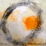 here 6 x 6 encaustic on board, $100
