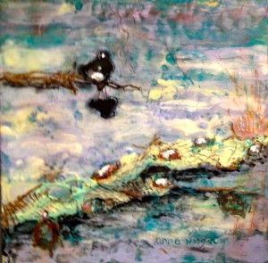 12 x 12 mixed media and encaustic on board $200
